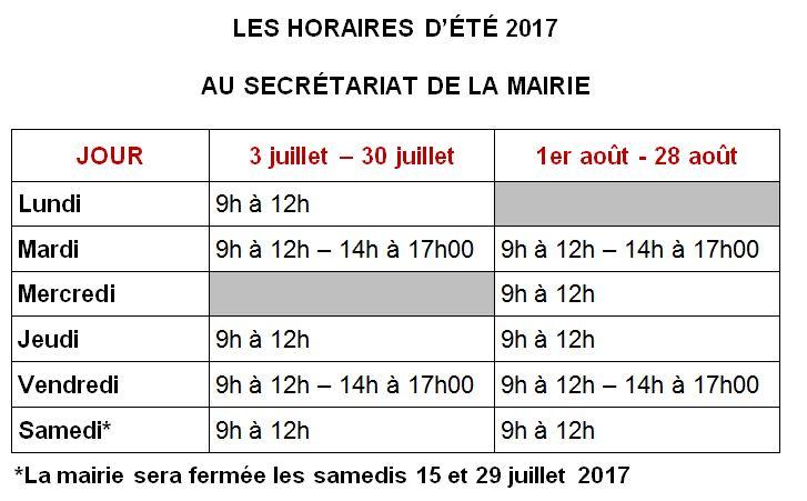 Les horaires d'ouverture cet été au secrétariat de la mairie