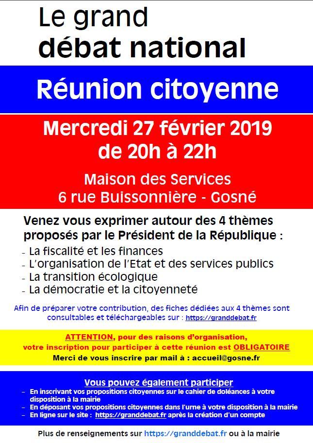 Débat National  - Réunion citoyenne mercredi 27 février 2019